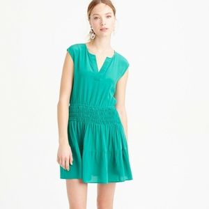 J. Crew Green Silk Smocked Waist Dress